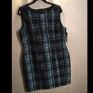 New Tahari Turquoise & Black Dress. Size 16